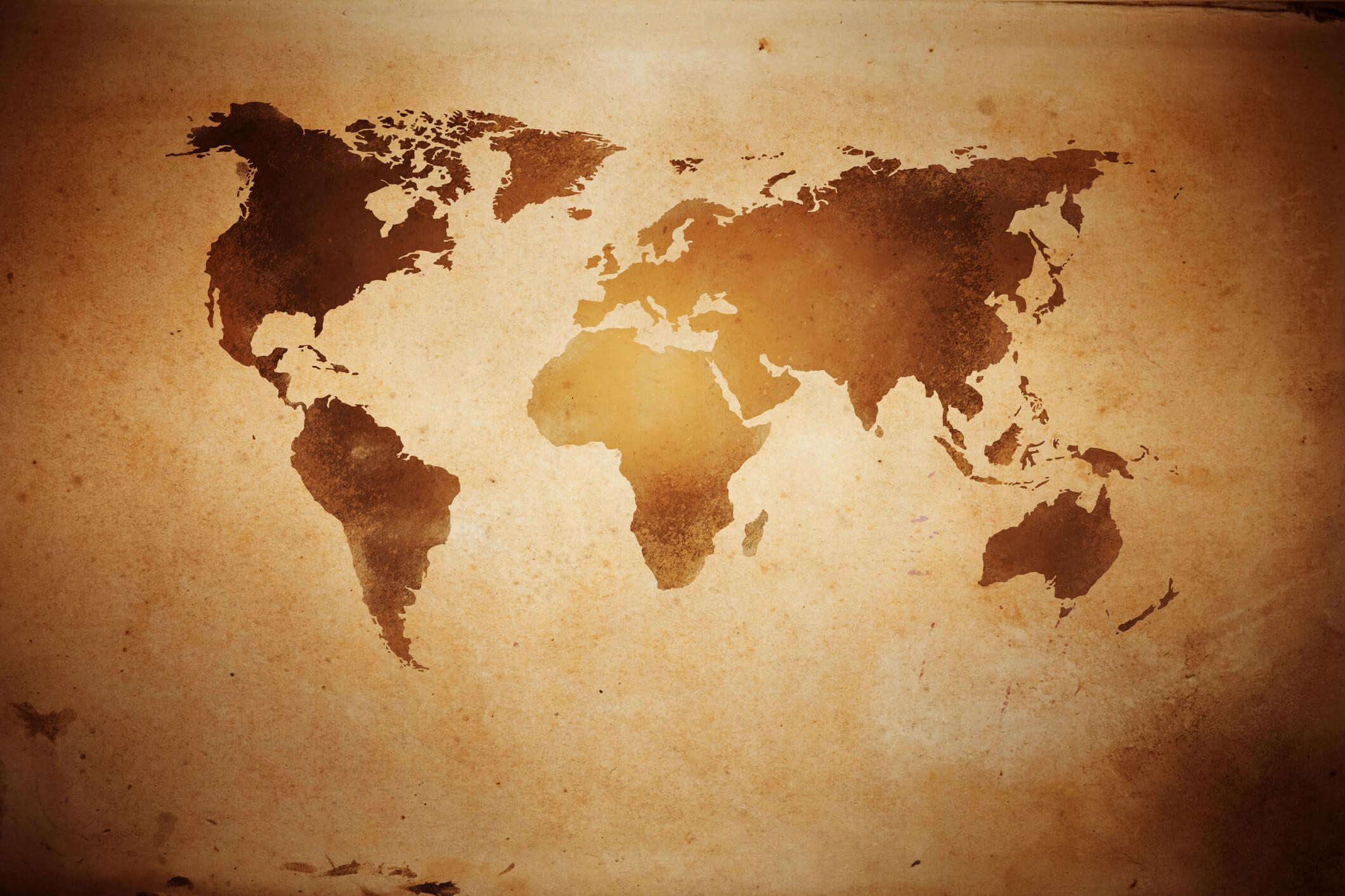 Pożółkła mapa świata